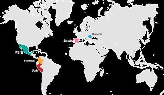 Mapa del mundo destacando los países con oficina de Femxa