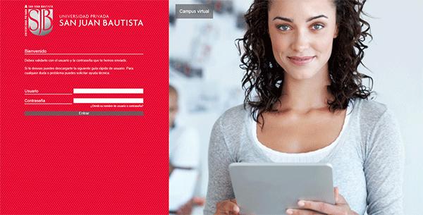 web de acceso a acceso a plataforma e-learning de universidad